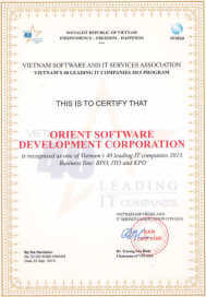 Certificate recognizing Orient Software as Top 40 ICT company in Vietnam